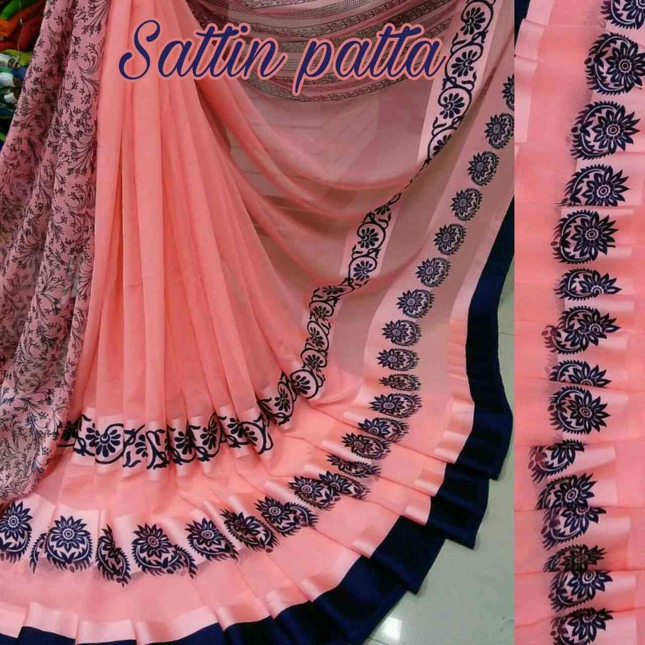 Peach Color Satin Printed Traditional Saree With Unstitched Blouse Materialsattin patta 6