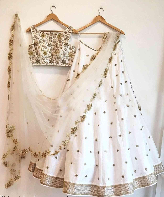 "Bridal White Partywear Lahenga Choli Handwork  30"""