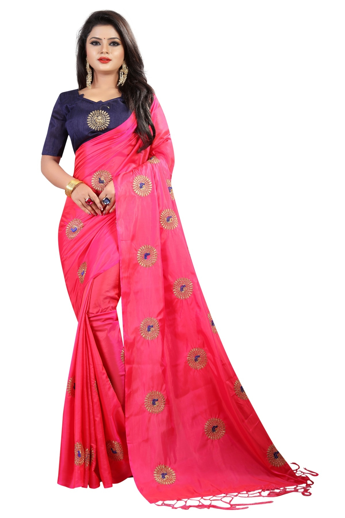 010a3256f6b26 MastaniFab Pink Heavy Embroidered Paper Silk Saree With Embroidered Blouse  Laheriya