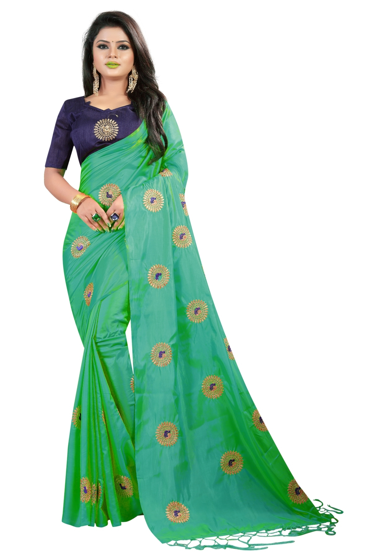 9b843552ef241 MastaniFab Green Heavy Embroidered Paper Silk Saree With Embroidered Blouse  Laheriya