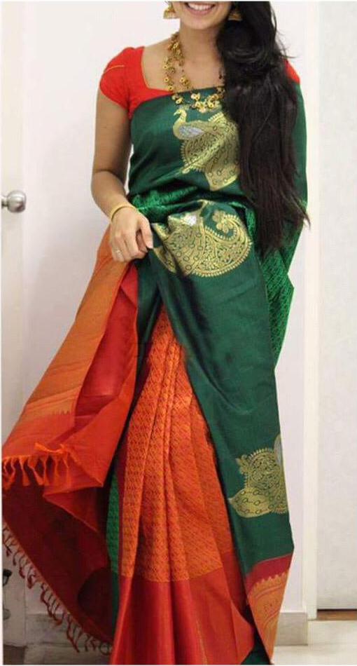 cbc13fbb17 Green And Red Color Peacock Design Silk Blend Traditional Saree For Womens