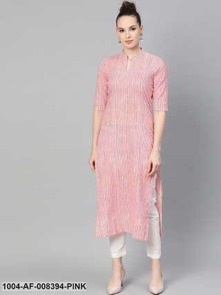 Pink  Off White Color Striped Printed Kurta With Solid White Pants