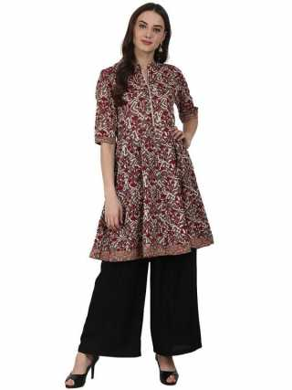 Black Ankle Length Rayon Straight Palazzos