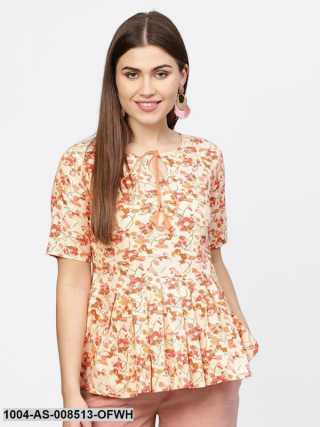Off White  Pink Printed Cotton Half Sleeve Tunic
