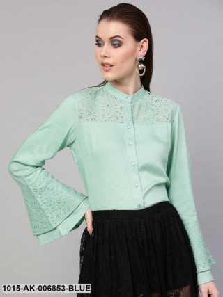 Mint Blue Lace Yoke Shirt