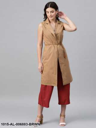 Brown Notched Collar Shrug