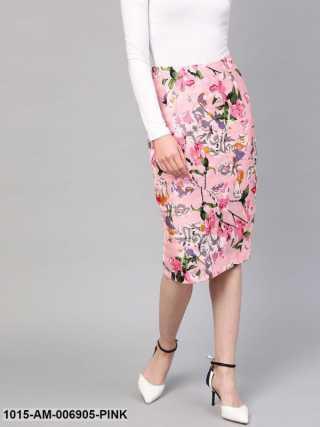 Pink Old Floral Silk Pencil Skirt