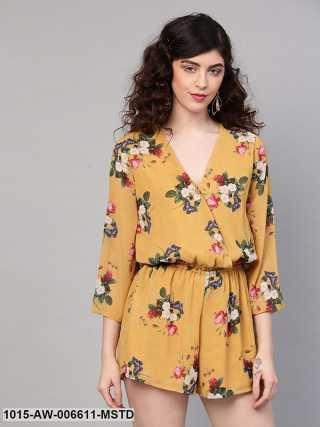 Mustard Floral V-Neck Romper