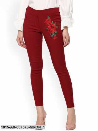 Maroon Embroidered Flower Patch Jegging