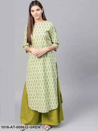 Green Printed 34Th Sleeve Cotton Straight Long Kurta