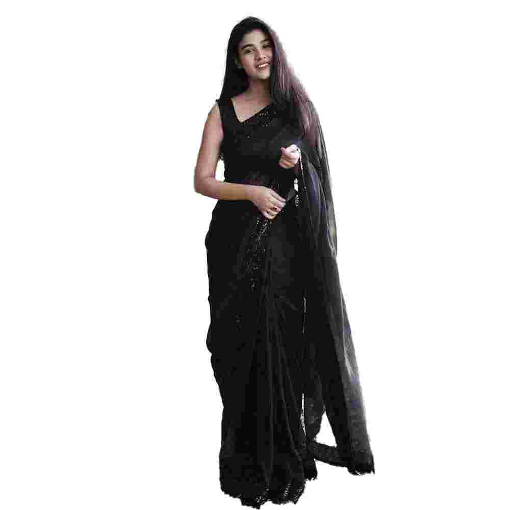 Black Colored Party Wear Georgette Saree With Blouse