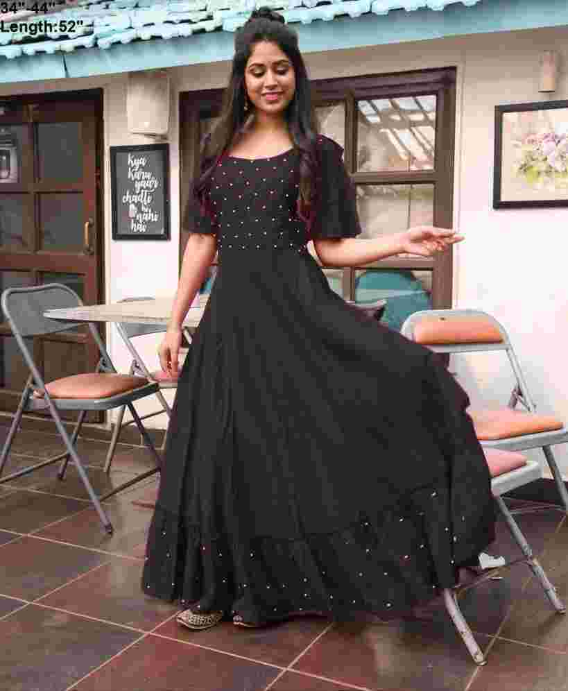 Black Colored Party Wear Moti Work Rayon Long Gown