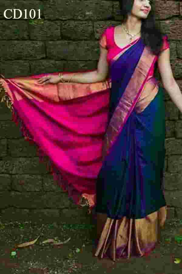 Blue Colored Soft Silk Party Wear Saree With Blouse Piece