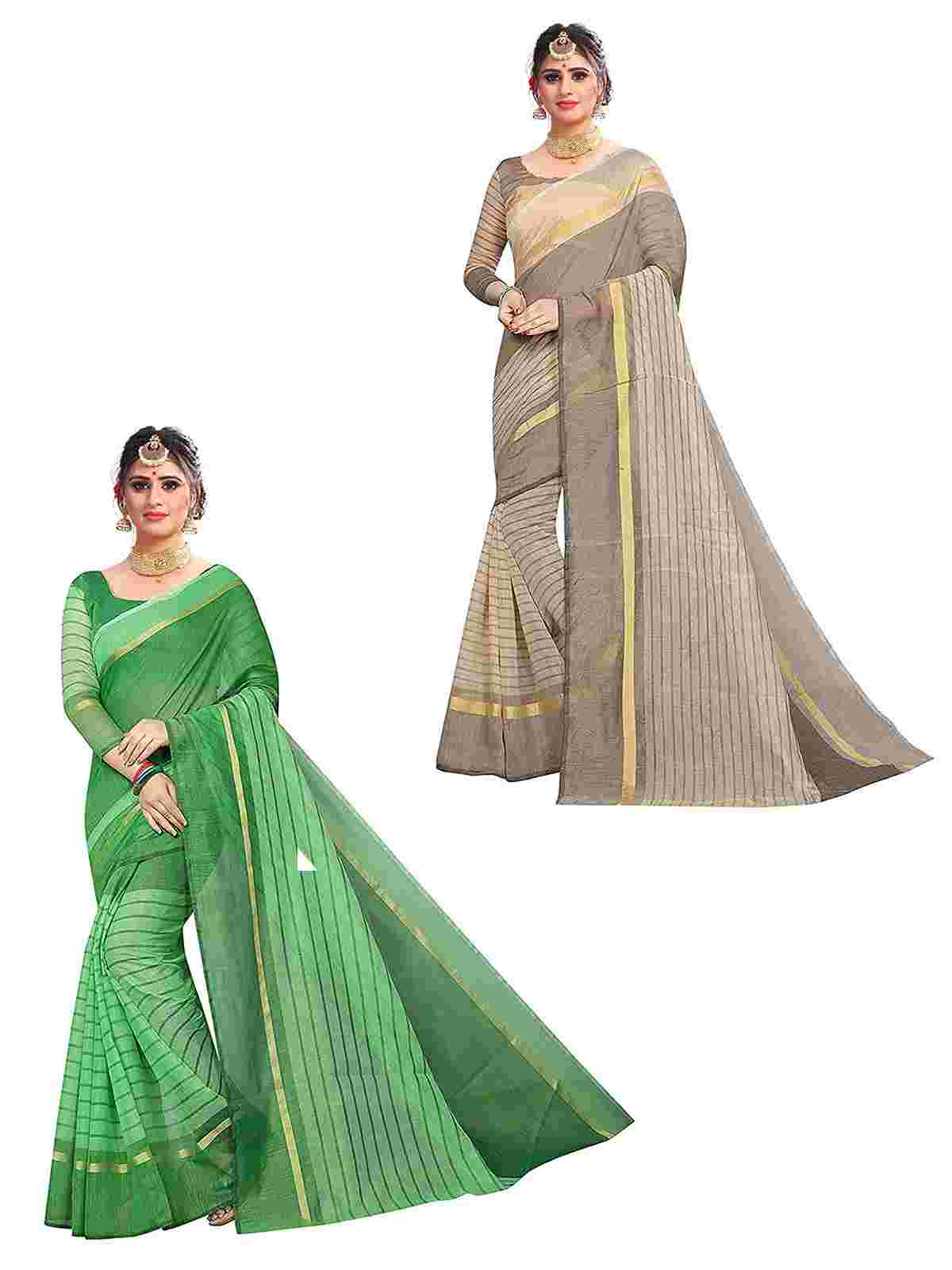 Multicolor Cotton Saree With Blouse Pack Of 2 Saree - ComboCtn08