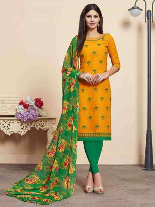 Yellow Lakda Jacquard Fabric Top With Cotton Bottom Casual Wear Dress Material