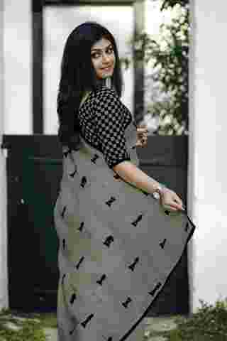 Shataranj Pattern Grey Colored Chanderi Silk Saree With Blouse Piece