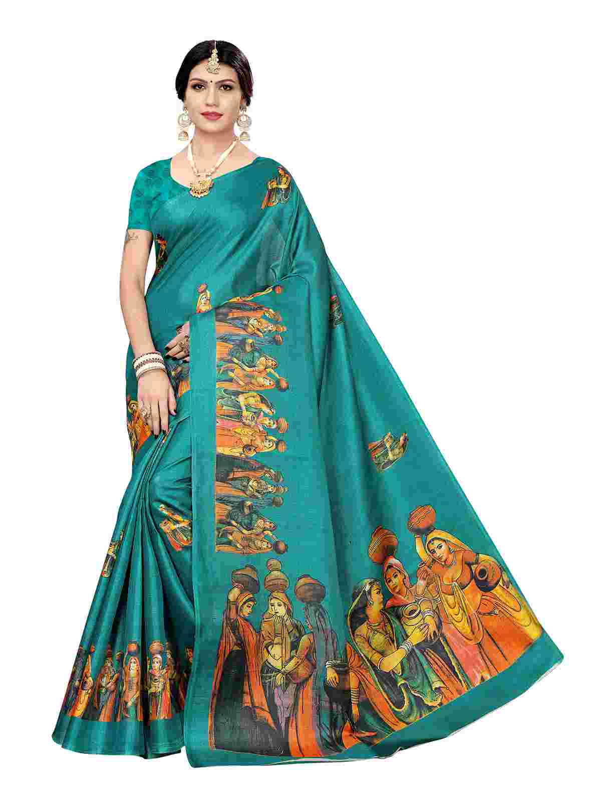 Blooming Teal Colored Casual Pallu Printed Khaadi Silk Saree With Unstitched Blouse