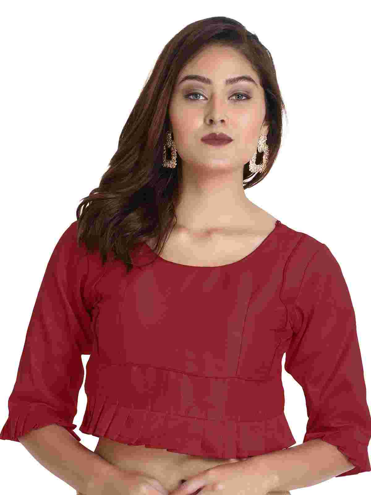 Maroon Round Neck Third Fourth Sleeve Brocade Readymade Blouse