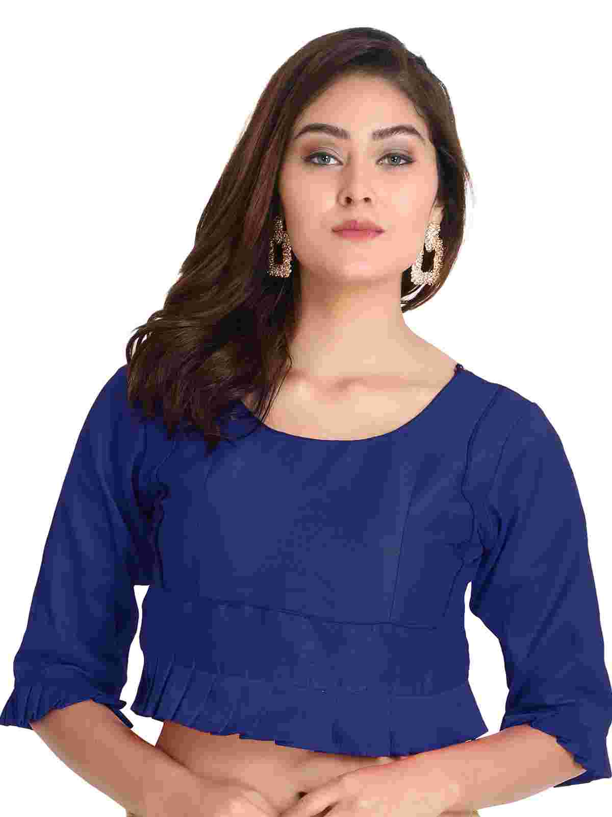 Blue Round Neck Third Fourth Sleeve Brocade Readymade Blouse