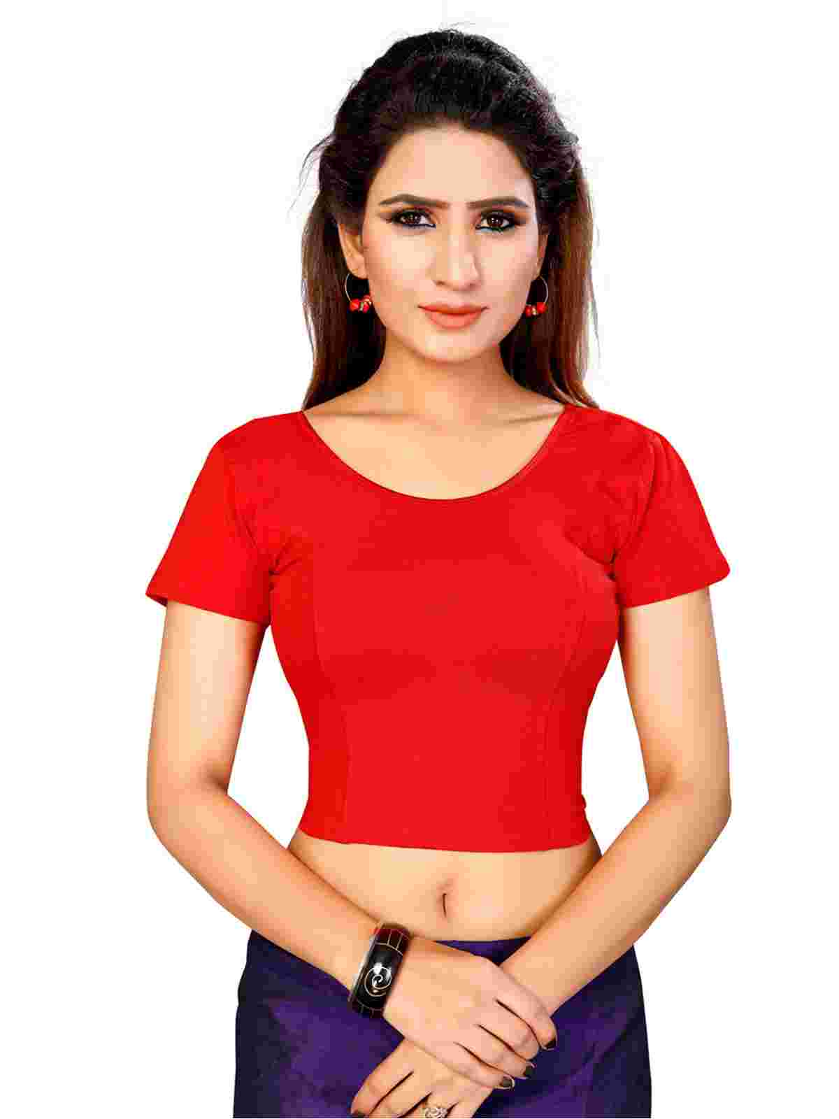 Red Plain Lycra Readymade Blouse