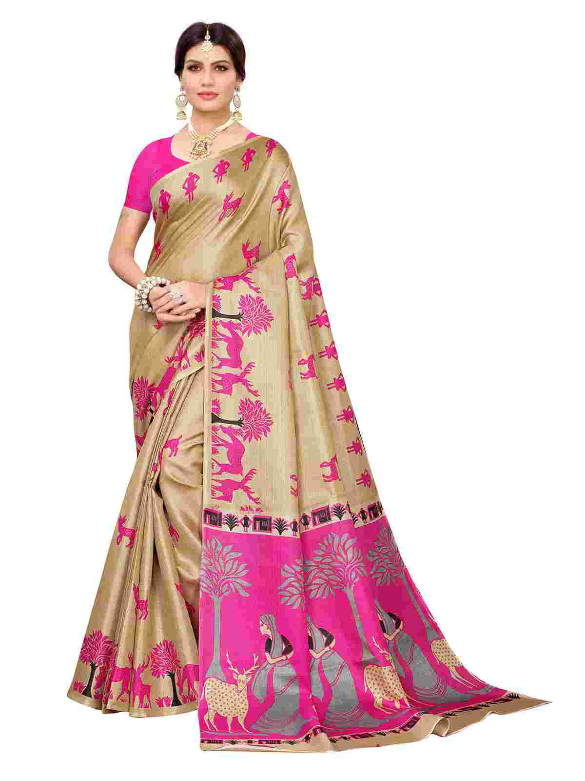 Prominent Beige-Pink Colored Casual Printed Khaadi Silk Saree With Unstitched Blouse