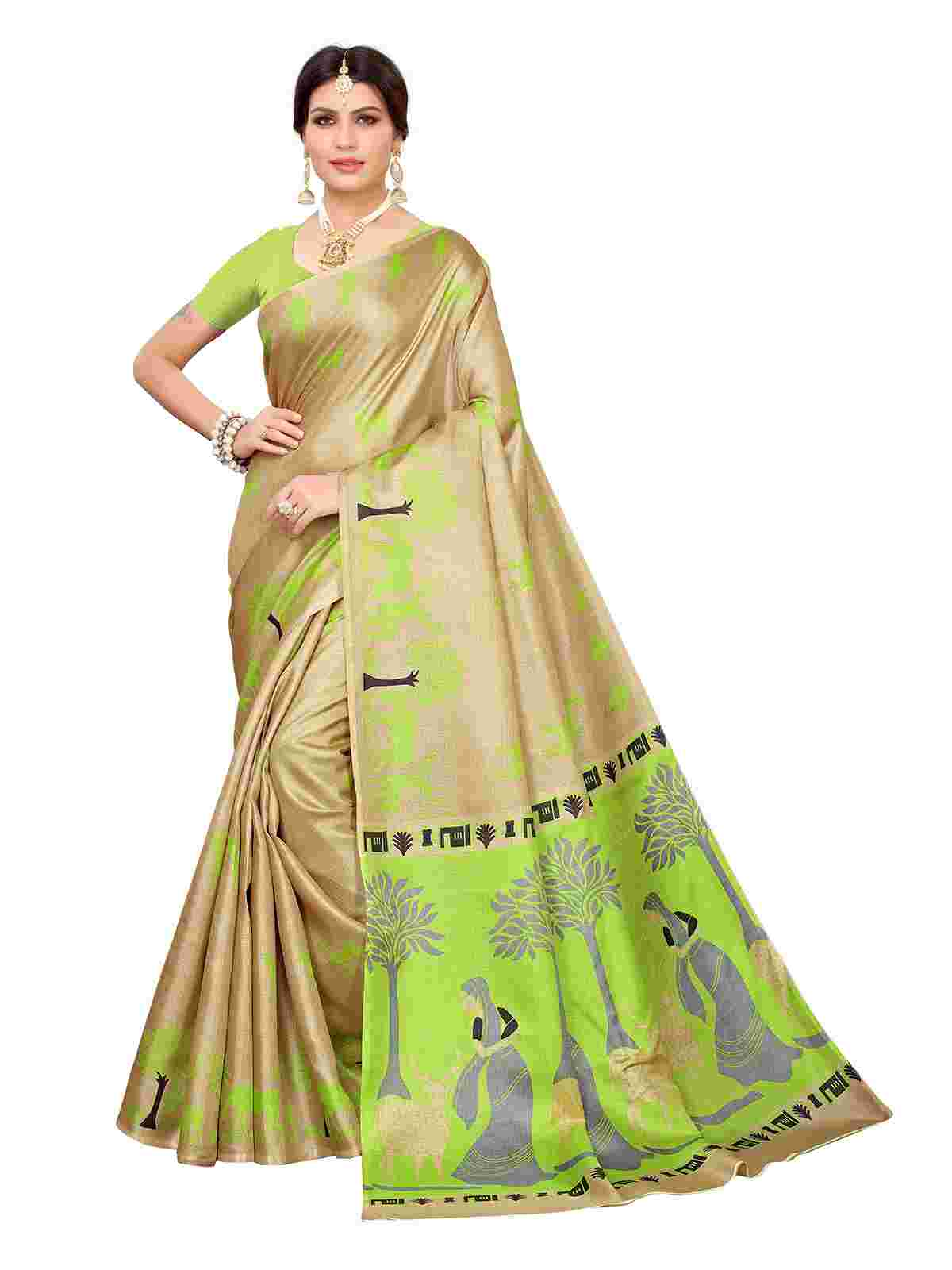 Imposing Beige-Green Colored Casual Printed Khaadi Silk Saree With Unstitched Blouse