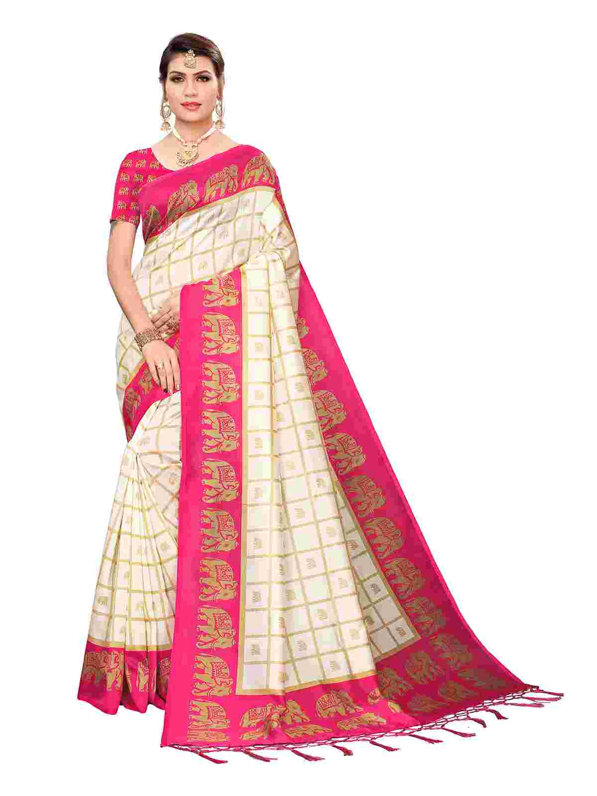 White - Pink Art Silk Printed Saree With Unstiched Blouse