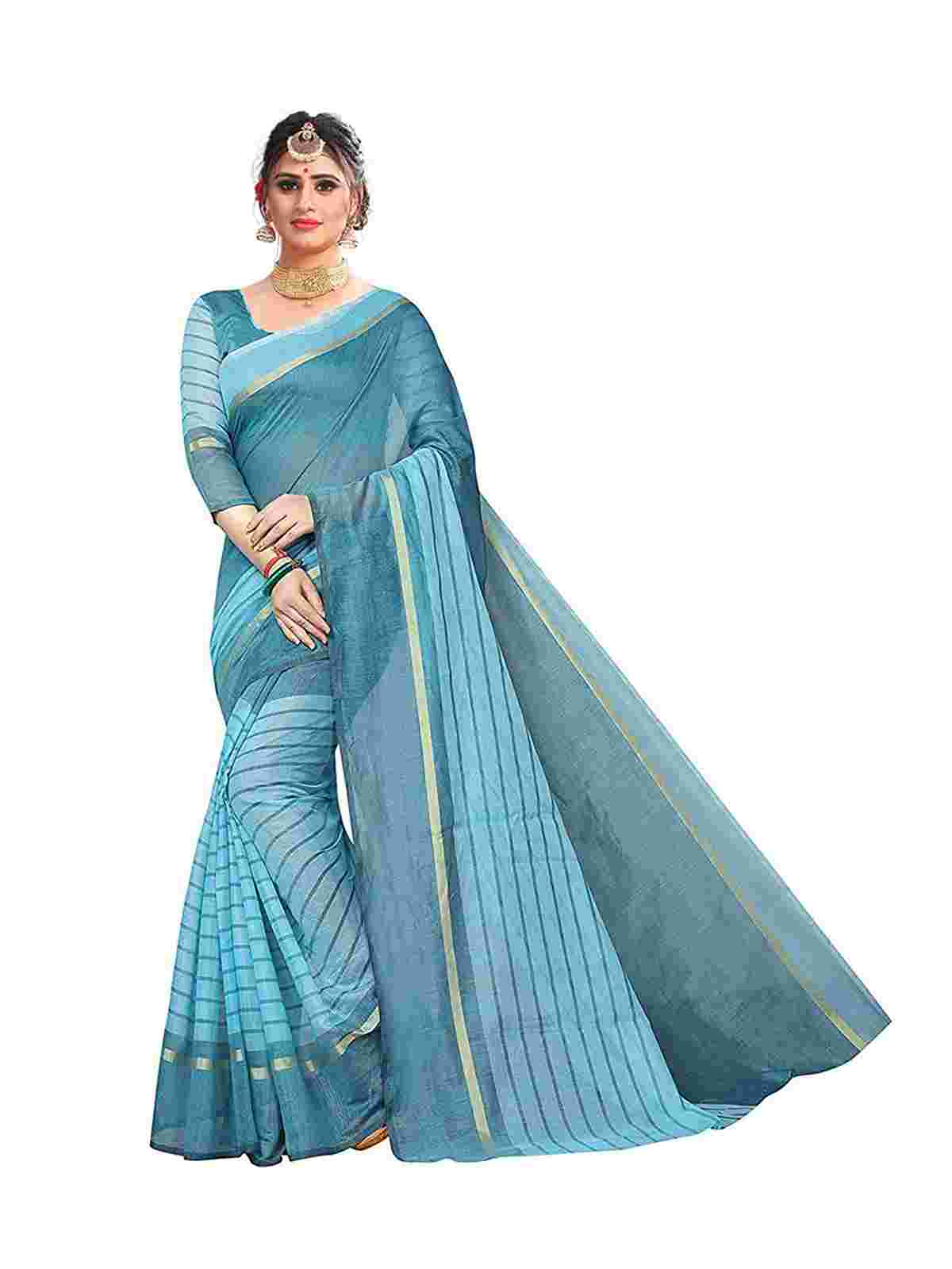 Sky Blue Color Cotton Saree With Unstiched Blouse Piece