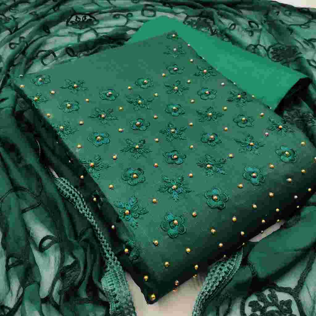 Green Colored Party Wear Cotton Dress Material With Dupatta