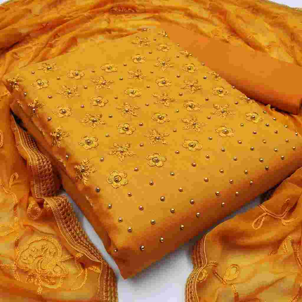Yellow Colored Party Wear Cotton Dress Material With Dupatta