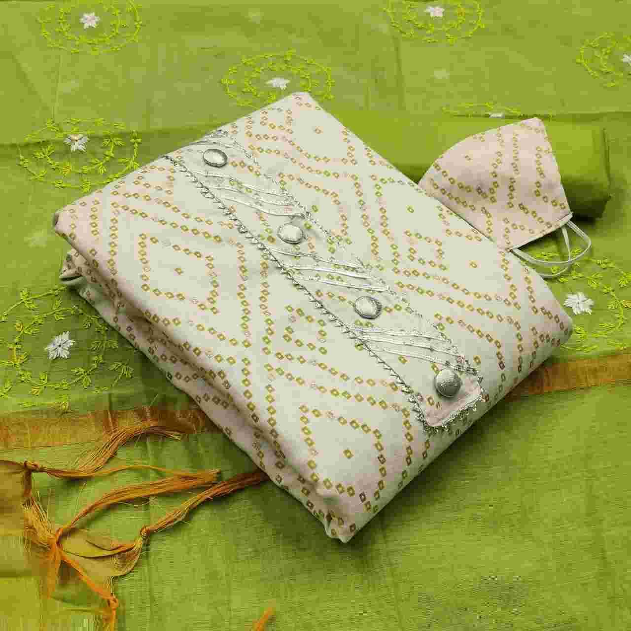 Fastive Wear Green Cotton Fabric Dress Material With Chanderi Dupatta