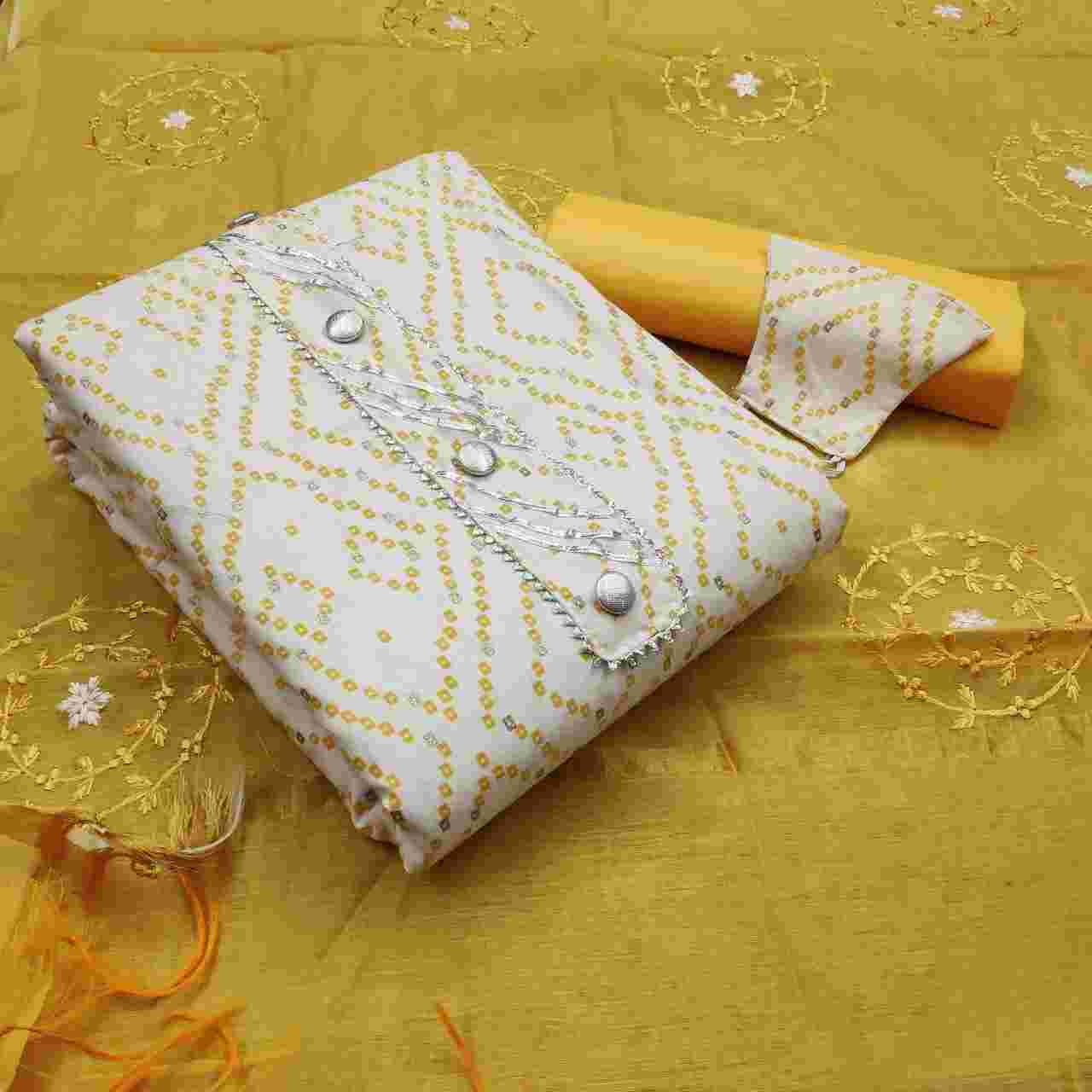 Fastive Wear Yellow Cotton Fabric Dress Material With Chanderi Dupatta