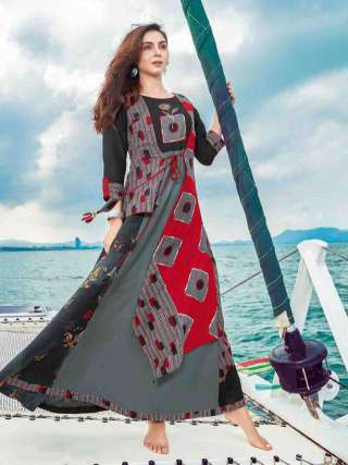 Partywear Grey Color Reyon Print Embroidery Long Gown
