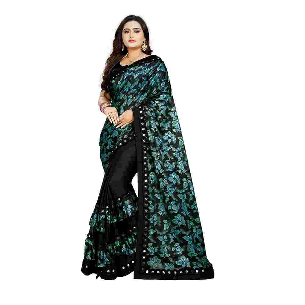 Green Colored Ruffle Work Lycra Malai Silk Saree With Blouse
