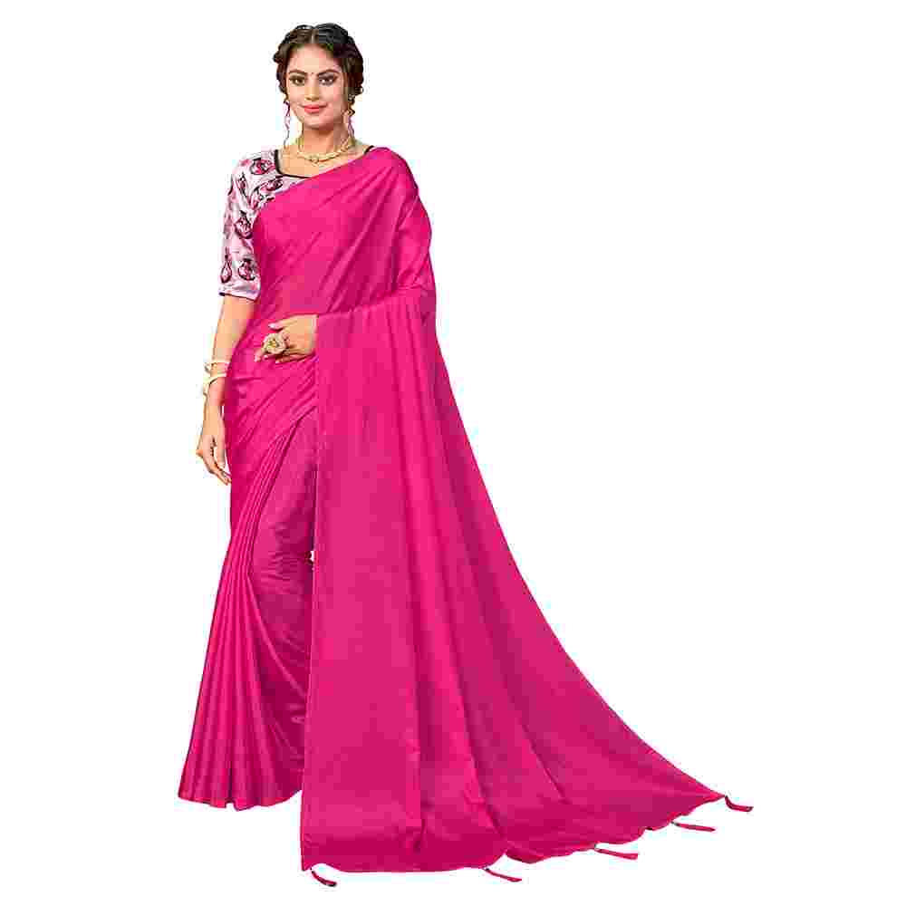 Pink Colored Party Wear Pure Turkey Silk Saree With Digital Print Blouse Piece