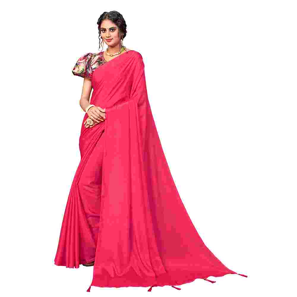 Red Colored Party Wear Pure Turkey Silk Saree With Digital Print Blouse Piece