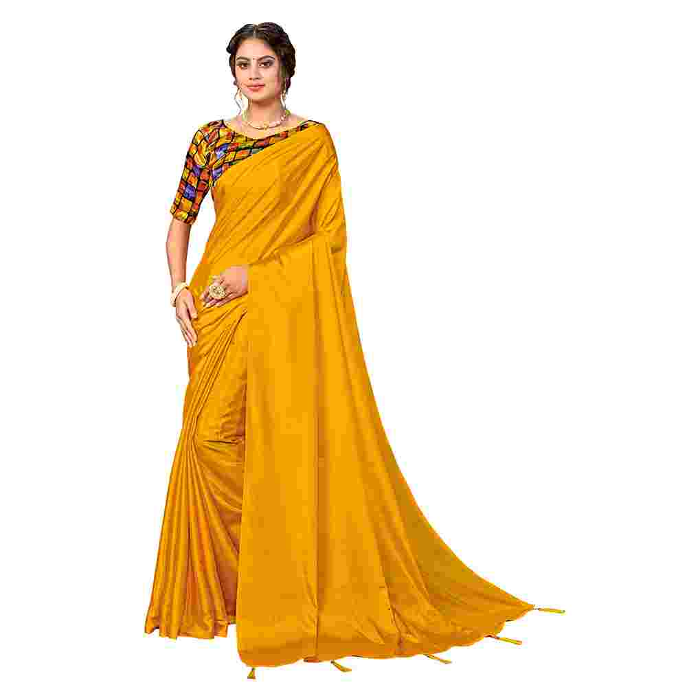 Yellow Colored Party Wear Pure Turkey Silk Saree With Digital Print Blouse Piece