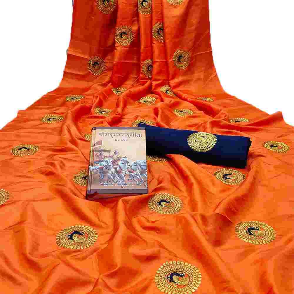 Orange Colored Embroidery Work Heavy Sana Silk Saree With Blouse