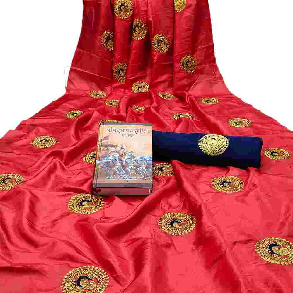 Red Colored Embroidery Work Heavy Sana Silk Saree With Blouse