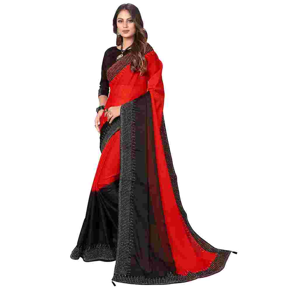 Red And Black Colored Stone Work Havy Rangoli Silk Saree With Blouse
