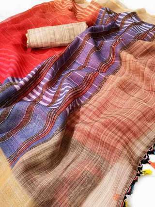 Striped linen saree with a matching blouse