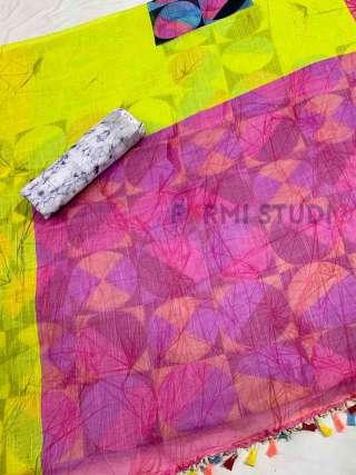 Purple and Neon Linen Saree