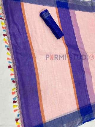 Purple and Peach Linen Saree