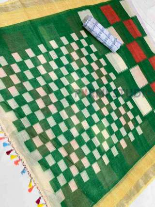 Pretty Green and Cream Checked Linen Saree