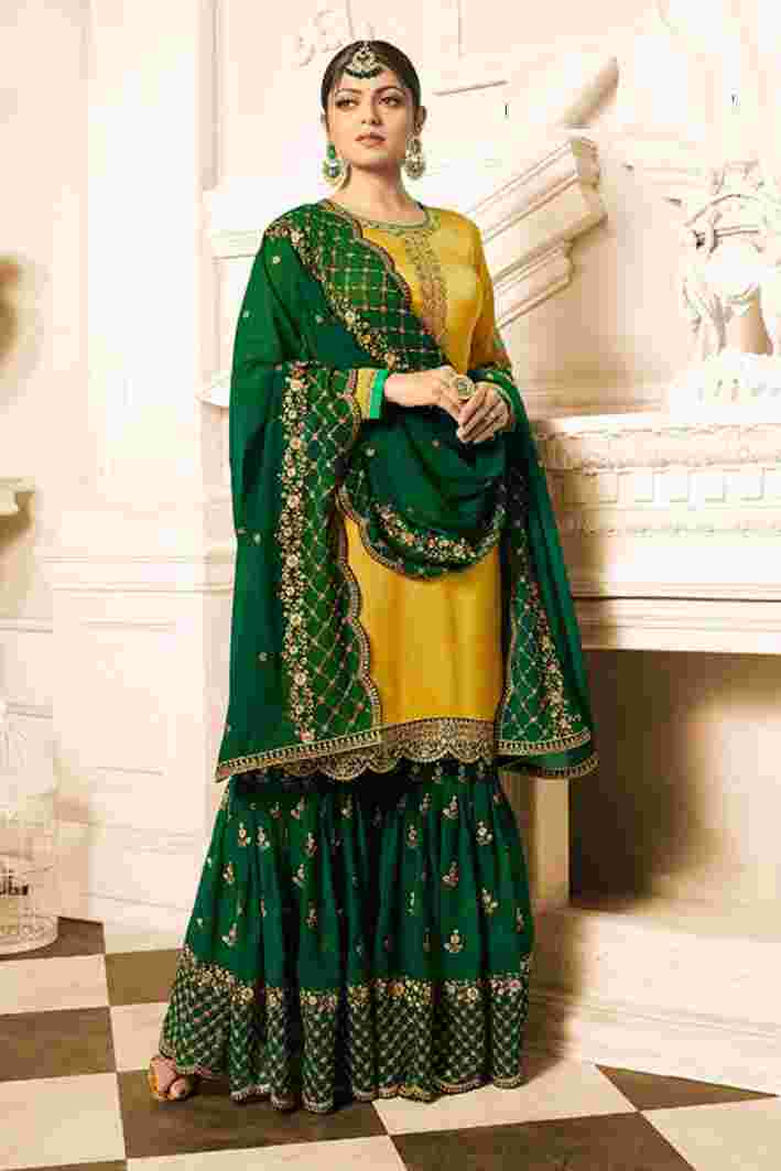 Yellow-Green Satin Georgette Embroidered Work Kurti With Sharara And Dupatta