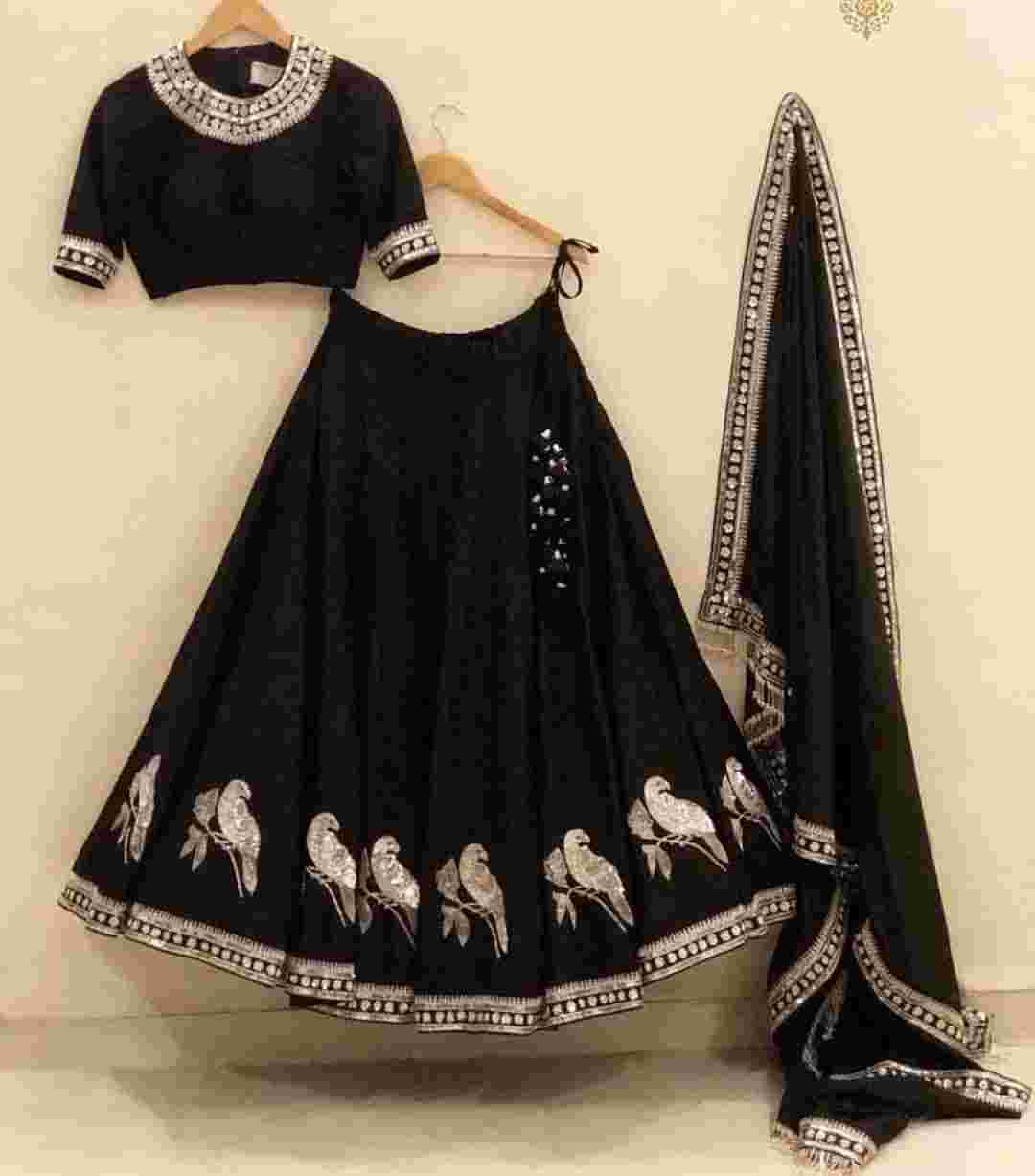Black Colored Embroidery Work Tapeta Silk Lehenga Choli With Nazmeen Dupatta