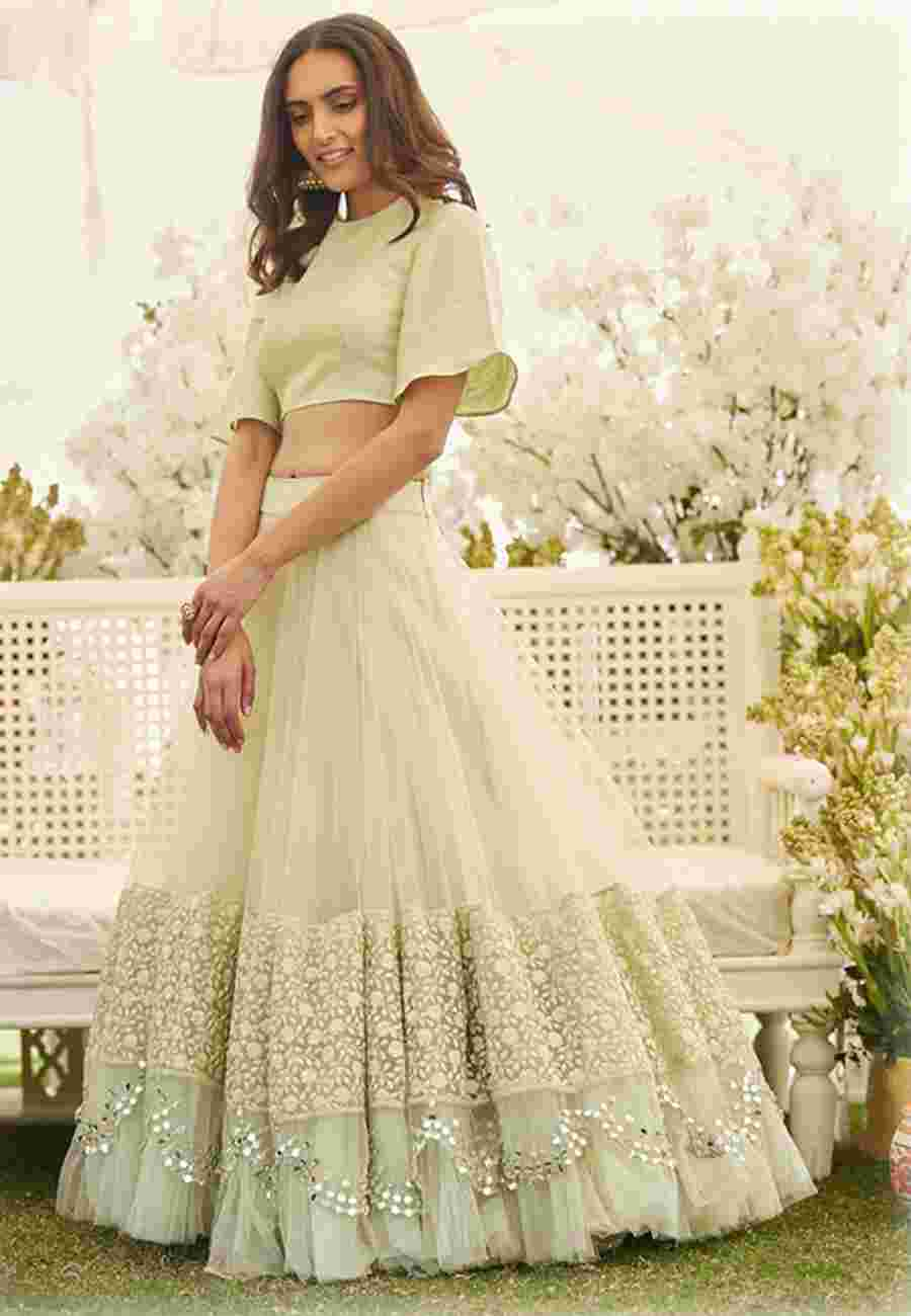 Pastel Green Colored Net Lehenga With Banglory Silk Blouse