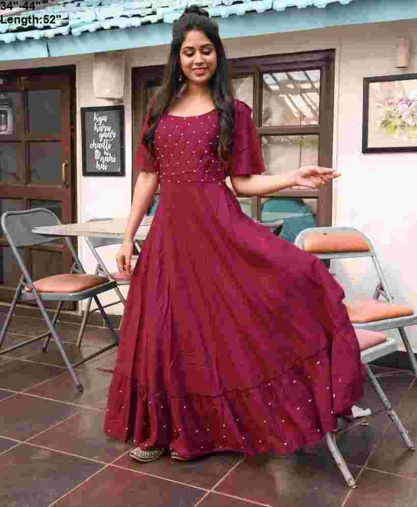 Maroon Colored Party Wear Moti Work Rayon Long Gown