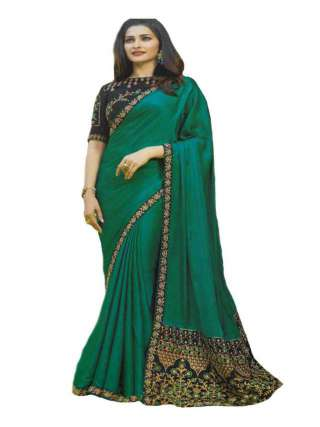 Green Sana Silk Fabric With Embroidery Work Saree With Banglory Silk Unstitched Blouse - NetrSari381