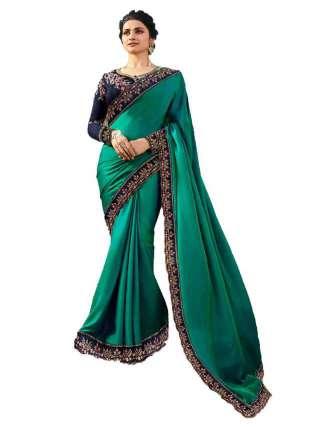 Rama Green Rangoli Silk Saree With Unstitched Banglory Silk Blouse - NetrSari450